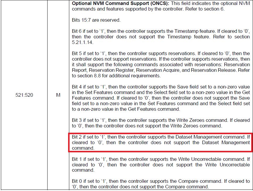 NVMe 1.3dにおけるOptional NVM Command Support (ONCS)フィールドの仕様