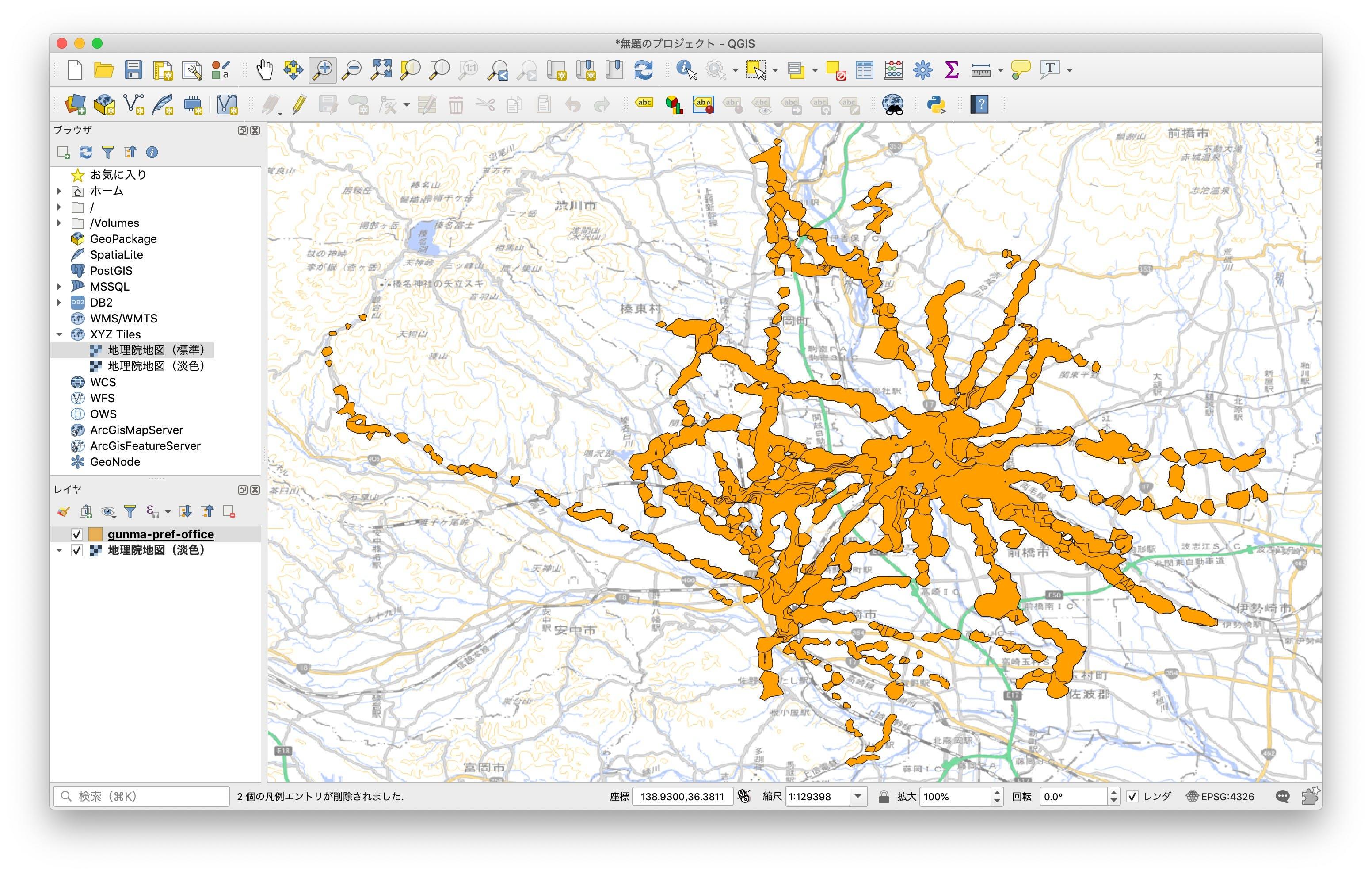GeoJSONと地理院地図を重ねた表示