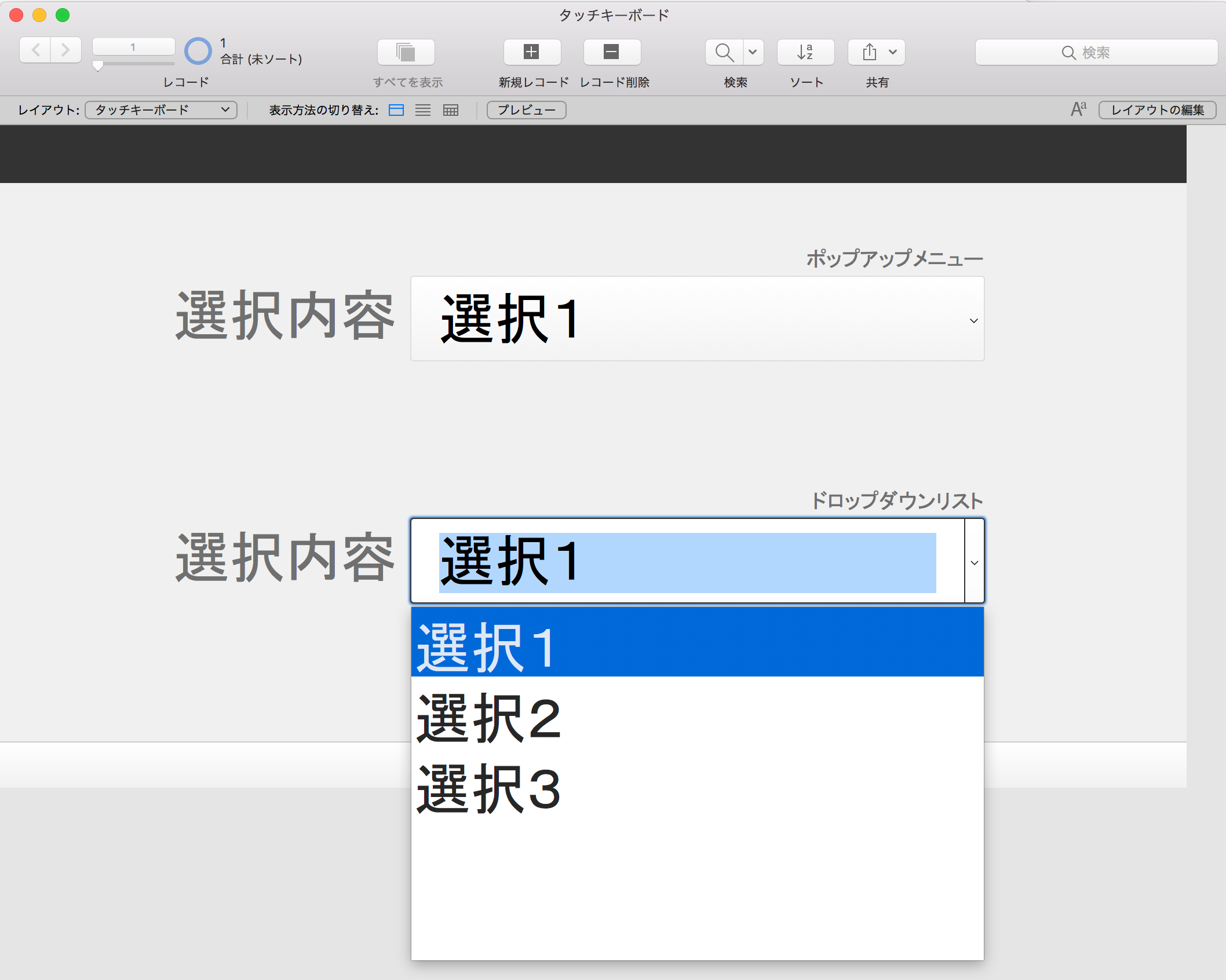 FileMaker Pro Advanced プルダウンリスト