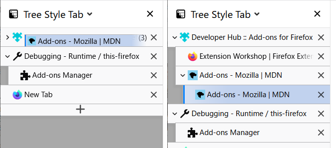 (スクリーンショット:Tree Style Tabでの利用例)