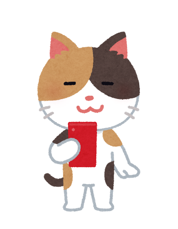 スマホを持つ猫