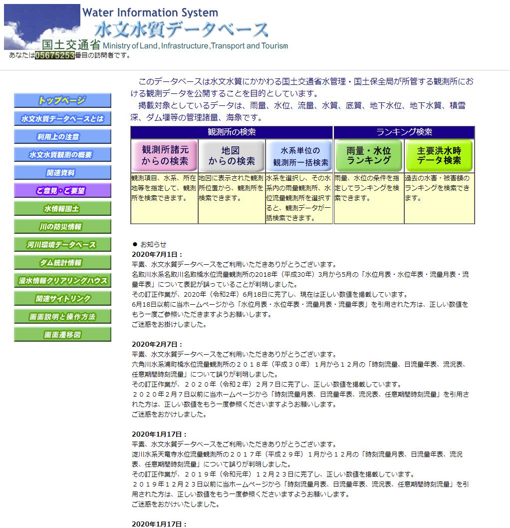 国土 交通 省 水文 水質 データベース 国土交通省 水文水質データベース