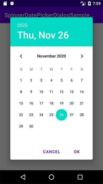 Calendar形式のDatePickerDialog