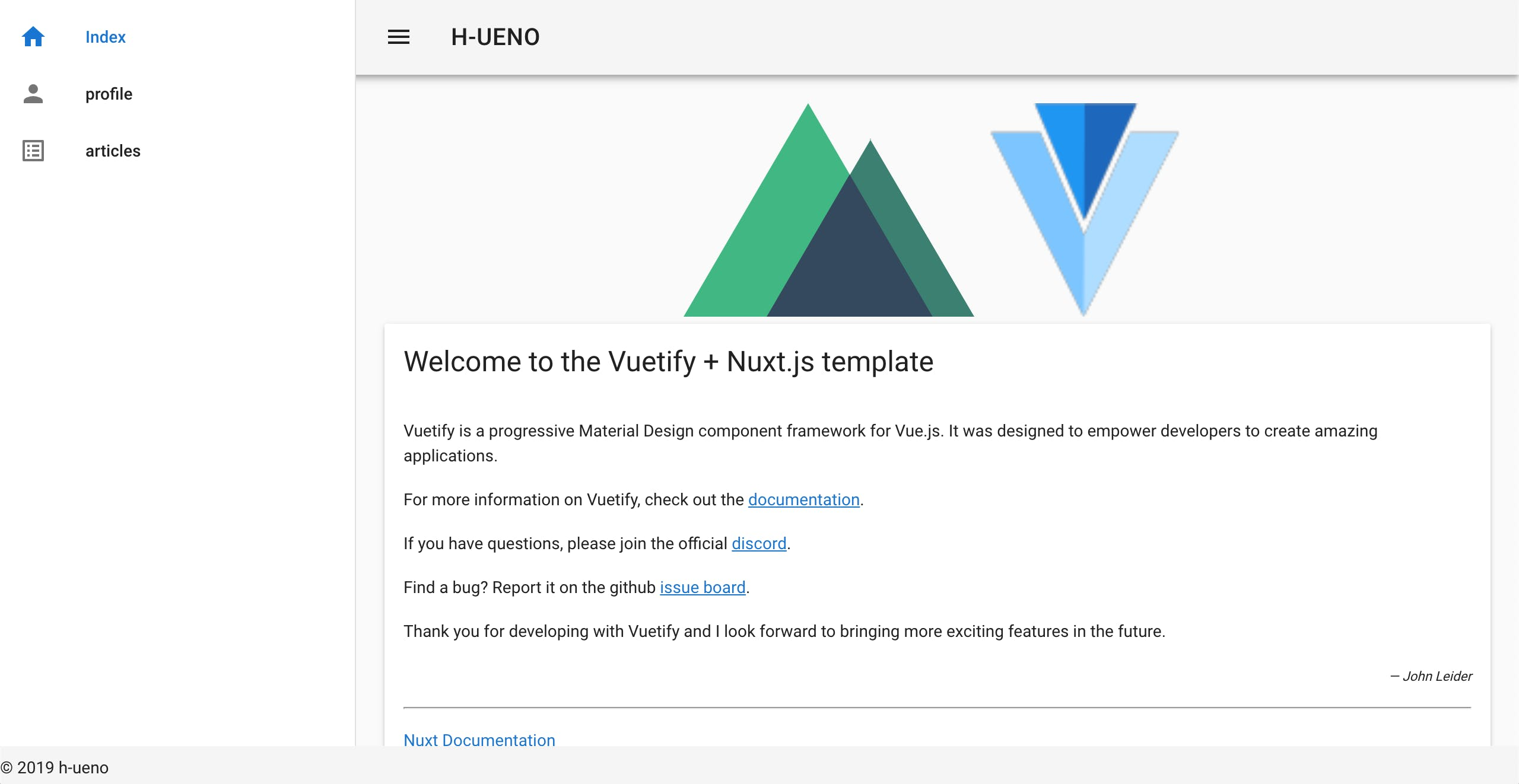 Vuetify Profile Template