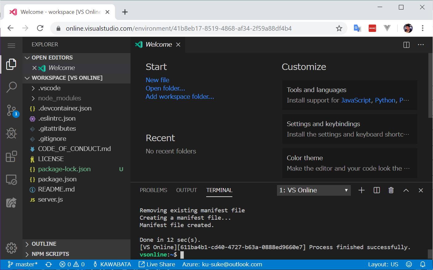 Welcome - workspace [VS Online] - Visual Studio Code - Insiders - vsonline+41b8eb17-8519-4868-af34-2f59a88df4b4 - Google Chrome 2019-11-05 10.07.25.png